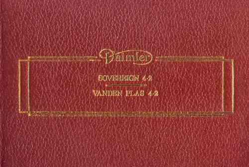 Daimler Sovereign 4.2 Vanden Plas 4.2 Series 3 Owners Handbook - Front Cover