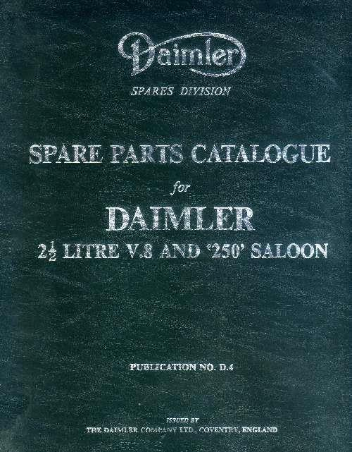 Daimler 2.5 Litre V8 & 250 Saloon Parts Catalogue (Hard Cover) - Front Cover