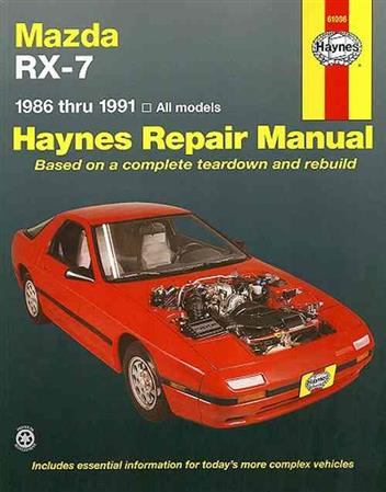 mazda rx 7 1986 1991 haynes owners service repair. Black Bedroom Furniture Sets. Home Design Ideas