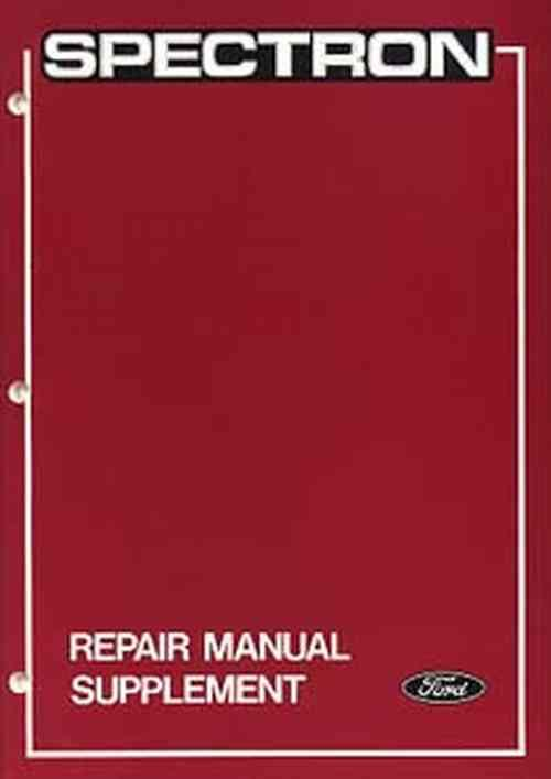 Ford Spectron 1985 Repair Manual Supplement - Front Cover