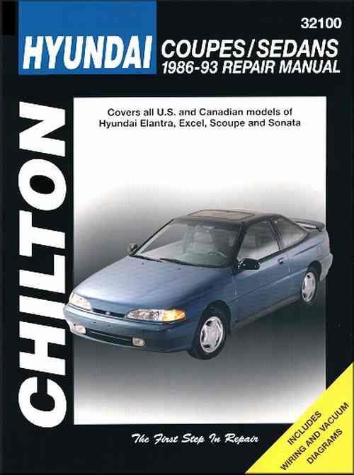 hyundai coupes sedans 1986 1993 chilton owners service. Black Bedroom Furniture Sets. Home Design Ideas