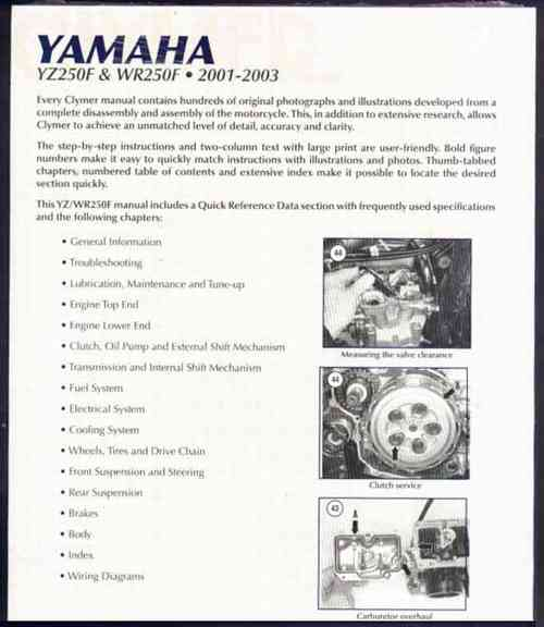 yamaha yz250f wr250f 2001 2003 clymer owners service repair manual ebay 2003 Yamaha YZ250F Review 2003 yamaha yz250f owner's manual