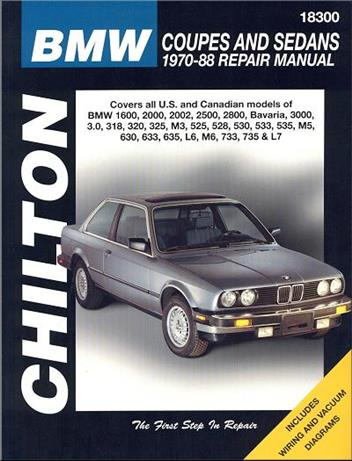 BMW Coupes & Sedans 1970 - 1988 Chilton Owners Service & Repair Manual - Front Cover