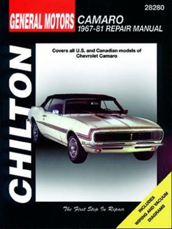 General Motors Chevrolet Camaro 1967-1981 Chilton Repair Manual - Front Cover