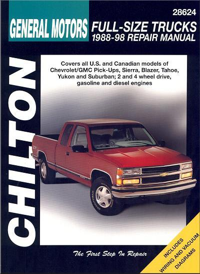 Chevrolet GMC Pick-Ups Trucks 1988 - 1998 Chilton Owners Service & Repair Manual - Front Cover