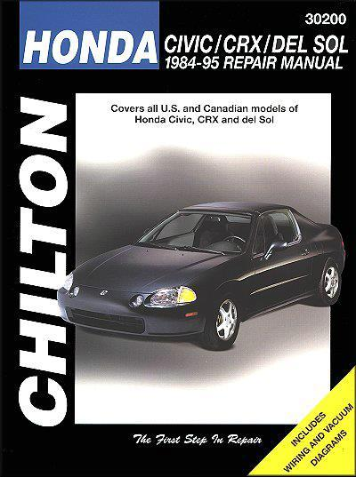 Honda Civic, CRX & del Sol 1984 - 1995 Chilton Owners Service & Repair Manual - Front Cover