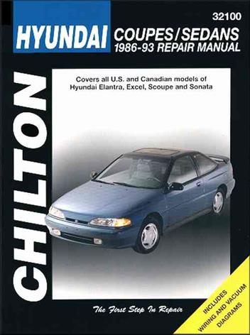 Hyundai Coupes & Sedans 1986 - 1993 Chilton Owners Service & Repair Manual - Front Cover
