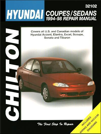 Hyundai Coupes & Sedans 1994 - 1998 Chilton Owners Service & Repair Manual - Front Cover