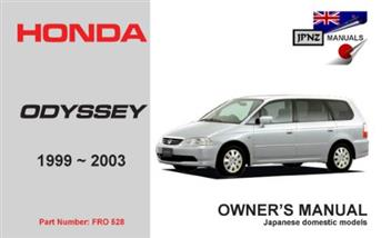 honda odyssey 1999 - 2003 owners manual - front cover