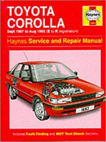 Toyota Corolla Petrol (Sept 87 - Aug 92) Haynes Repair Manual