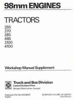 Leyland Tractor 98 mm Engine Workshop Manual Supplement - Front Cover