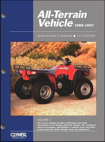 ATV 1988 - 1992 Clymer Owners Service & Repair Manual