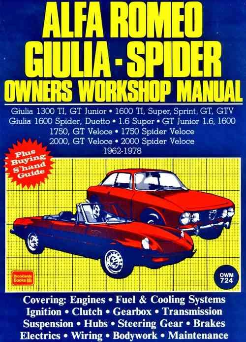 Alfa Romeo Giulia & Spider 1962 - 1978 Owners Service & Repair Manual - Front Cover