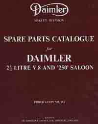 Daimler 2.5 Litre V8 & 250 Saloon Parts Catalogue (Soft Cover) - Front Cover