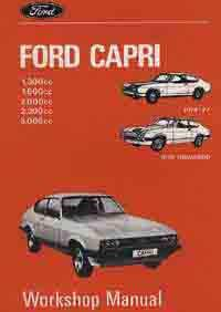 Ford Capri 1.3, 1.6, 2.0, 2.3 & 3.0 1974 on Factory Workshop Manual - Front Cover