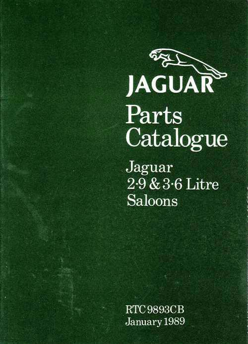 Jaguar XJ6 (XJ40) 2.9 & 3.6 Litre Saloons 1986 - 1989 Parts Catalogue - Front Cover