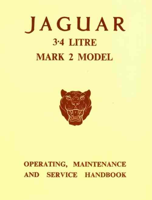 Jaguar 3.4 Litre Mk 2 Operating, Maintenance & Service Handbook - Front Cover