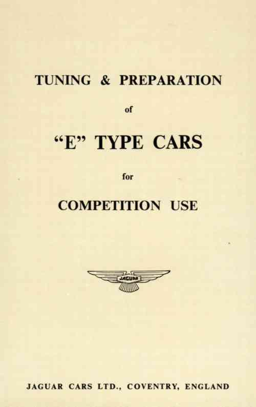Jaguar E-Type Tuning & Preparation For Competition Use - Front Cover