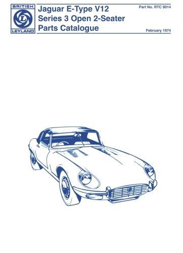 Jaguar E-Type V12 1971 On Series 3 Open 2 Seater Parts Catalogue - Front Cover