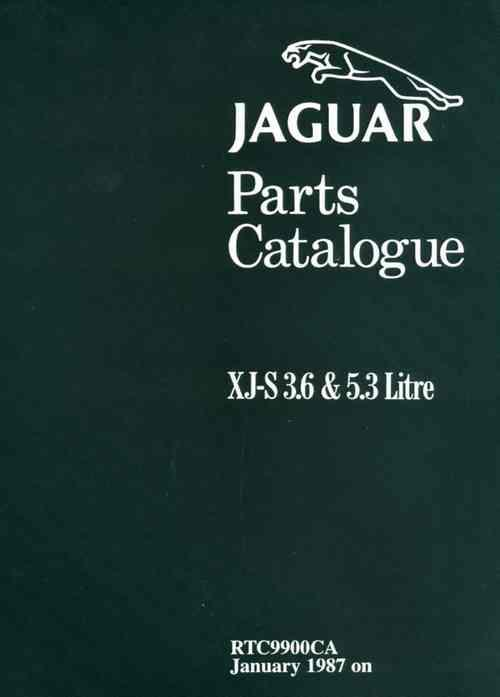 Jaguar XJ-S (XJS) Range 3.6 Litre & 5.3 Litre 1988 - 1992 Parts Catalogue - Front Cover