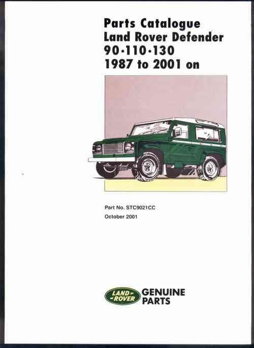 Land Rover Defender 90-110-130 1987 - 2001 On Parts Catalogue - Front Cover