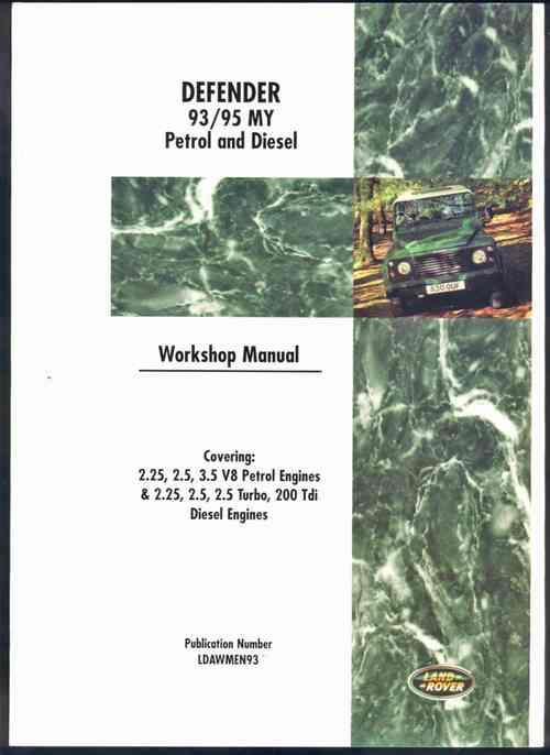 Land Rover Defender 1993 - 1995 MY Petrol & Diesel - Front Cover