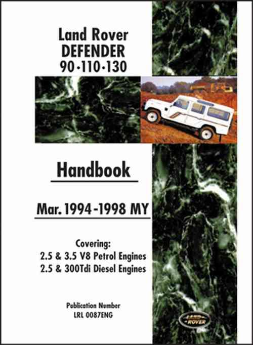 Land Rover Defender 90 110 130 Handbook - Front Cover