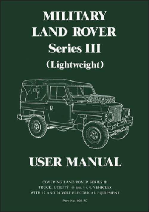 Military Land Rover Series 3 (Lightweight) User Manual