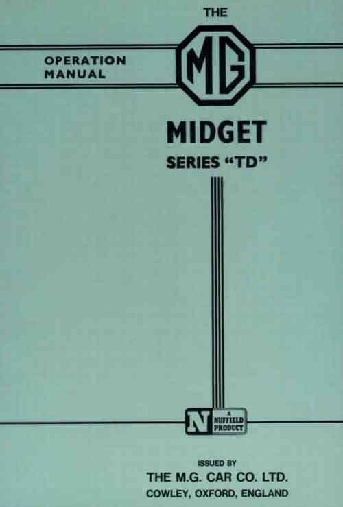 MG Midget Series TD Operation Manual - Front Cover