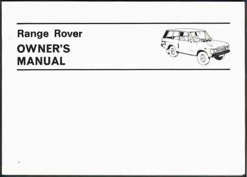 Range Rover 3.5 litre 1970 - 1980 Owners Handbook - Front Cover