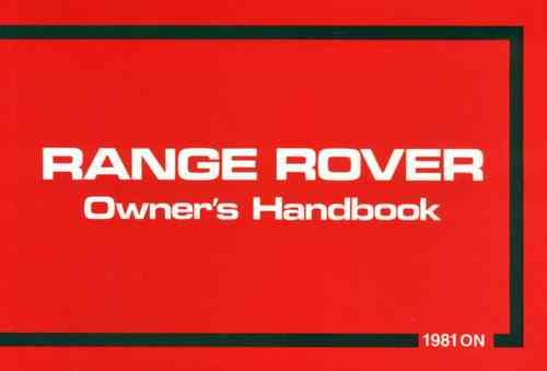 Range Rover 3.5 Litre V8 1981 - 1982 Owners Handbook - Front Cover