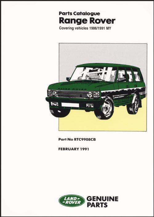 Range Rover 1986 - 1992 Parts Catalogue - Front Cover