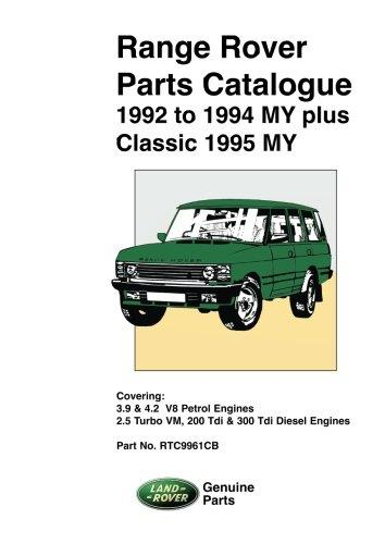 Range Rover 1992 - 1994 MY & Classic 1995 MY Parts Catalogue - Front Cover