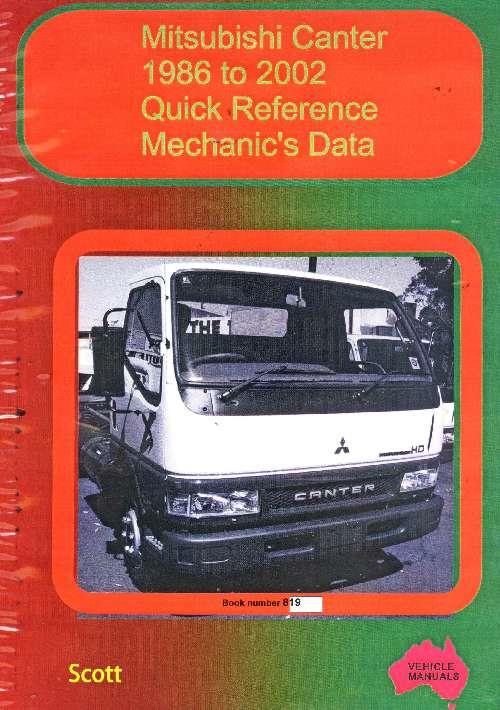 Mitsubishi Canter: Quick Reference Mechanics Data 1986 to 2002 - Front Cover