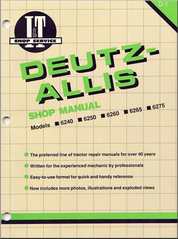 Deutz Allis 1986 - 1990 Farm Tractor Owners Service & Repair Manual - Front Cover