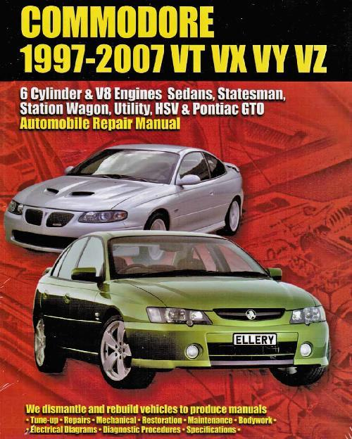 Holden Commodore VT VX VY VZ 6 Cyl & V8 Engine 1997 - 2007 Owners Repair Manual - Front Cover