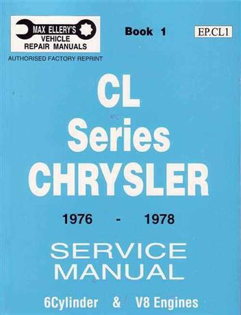 Chrysler Valiant CL Series 1976 - 1978 Service Manual : Book 1 - Front Cover