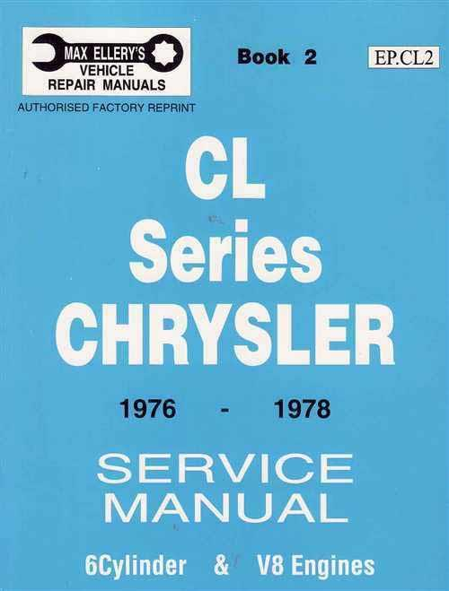 Chrysler Valiant CL Series 1976 - 1978 Service Manual : Book 2 - Front Cover