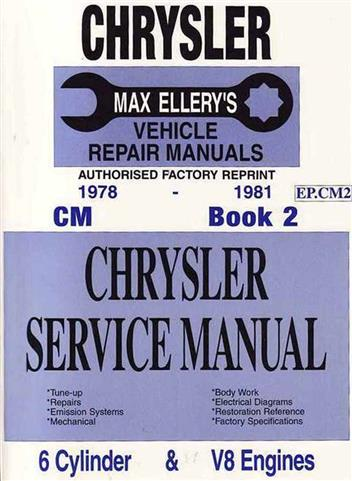 Chrysler Valiant CM Series 1978 - 1981 Service Manual : Book 2 - Front Cover