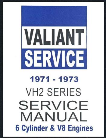 Chrysler Valiant 1971 - 1973 VH Service Repair Manual H Series : Book 2 - Front Cover