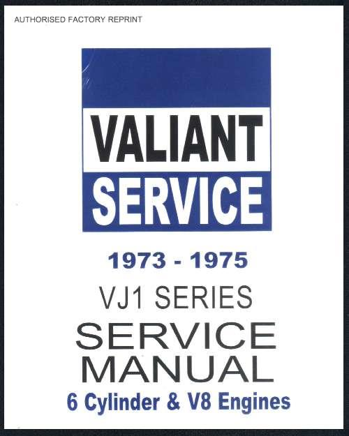 Chrysler Valiant 1973 - 1975 VJ Series Service Manual : Book 1 - Front Cover