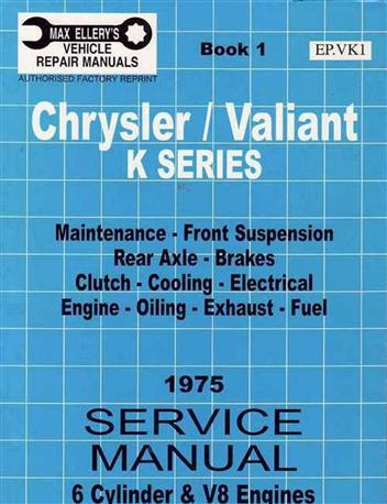Chrysler Valiant VK Series Owners Service Manual : Book 1 - Front Cover