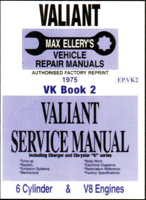 Chrysler Valiant VK Owners Service Manual : Book 2 - Front Cover