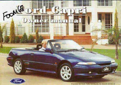 Ford Capri SE30 1994 Owners Handbook : Factory Publication