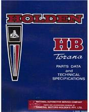 Holden HB Torana Parts Data & Technical Specifications