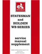 Holden Statesman & WB Series 1980 - 1985 Service Manual Supplement