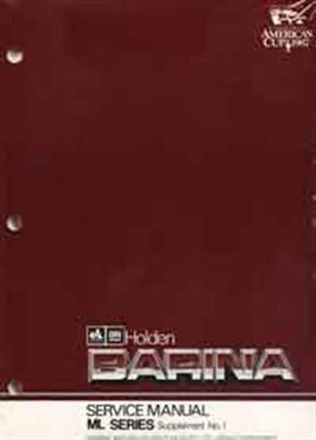 Holden Barina (ML) 1986-1989 Repair Manual Supplement 1 - Front Cover