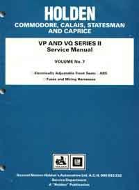 Holden Commodore VP & VQ Series II 1991 - 1993 Factory Service Manual Volume 7 - Front Cover