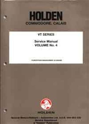 Holden Commodore/Calais VT 1997 Service Manual : Volume 4 - Front Cover
