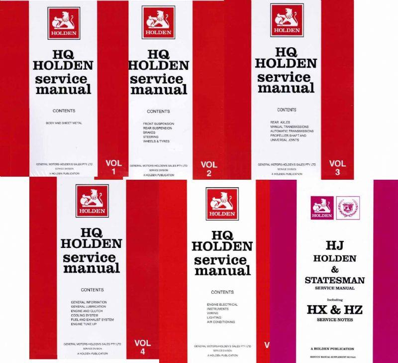 Holden HQ, HJ & Statesman 1971 - 1980 Service Manual (6 Volume Set)